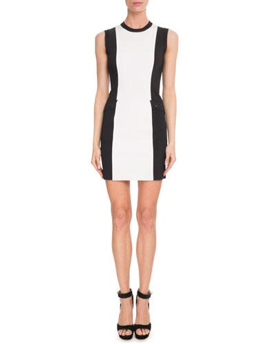 Sleeveless Bi-Color Punto Milano Knit Dress
