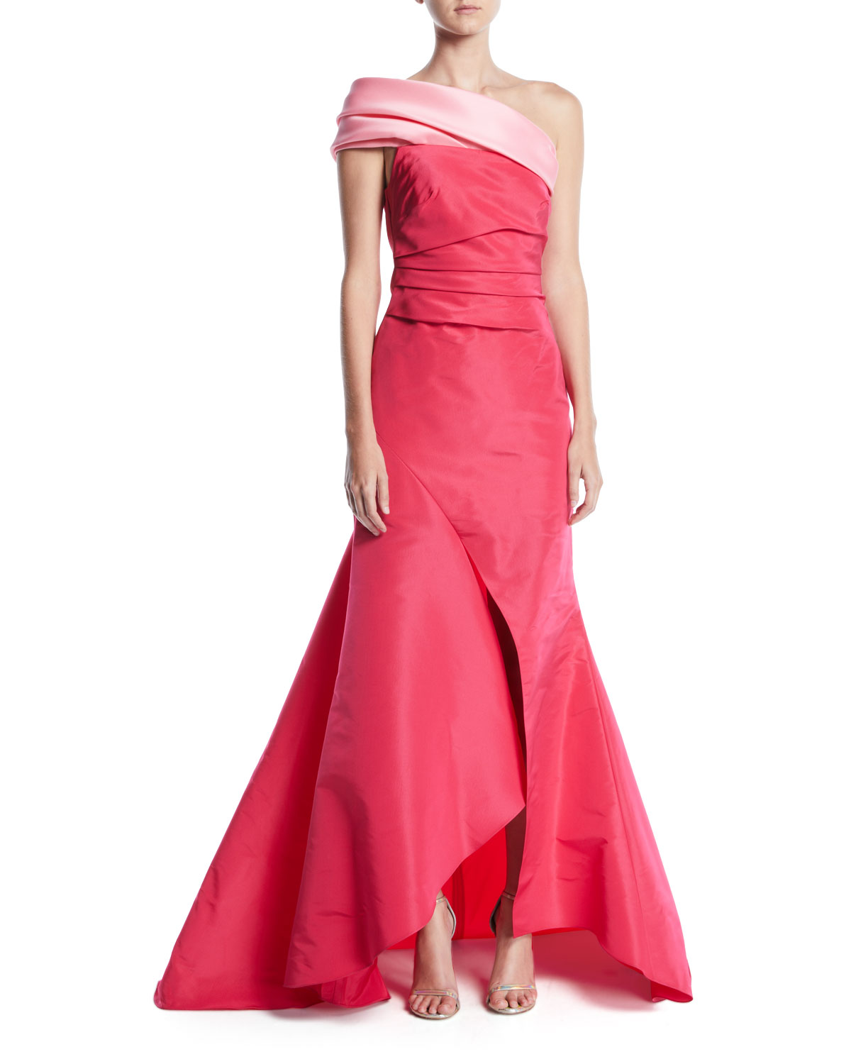One-Shoulder Draped-Bodice Slit-Front Evening Gown