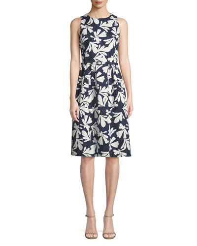 Sleeveless Fit-and-Flare Floral-Print Dress
