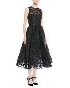 Sleeveless Embroidered Fil Coupe Tea-Length Cocktail Dress