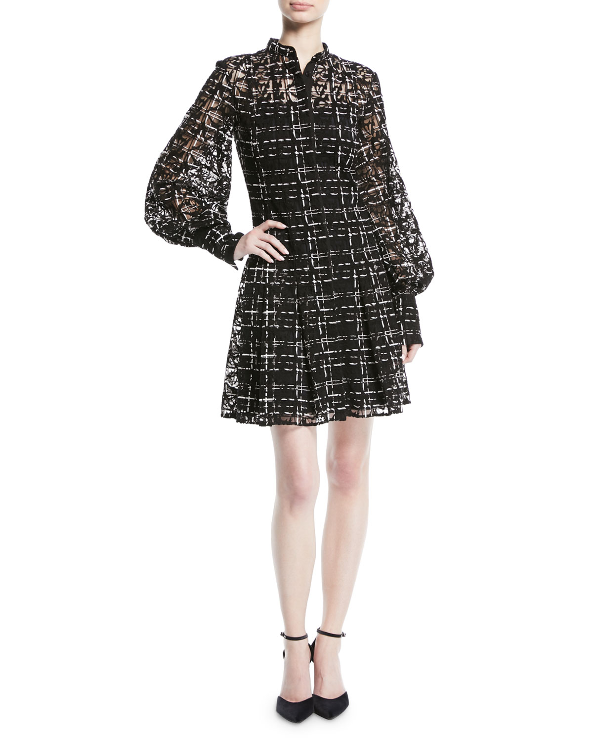 Long-Sleeve Button-Down Plaid-Lace Dress in Black