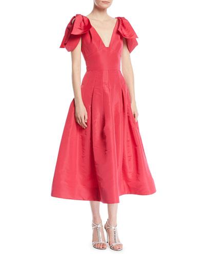 V-Neck Bow-Shoulder Fit-and-Flare Tea-Length Silk Faille Cocktail Dress