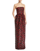 Strapless Embellished Fil Coupe 2-Pocket Evening Gown