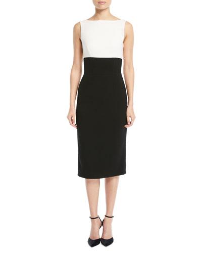 Back-Tie Sleeveless Colorblocked Crepe Sheath Dress