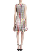 Sleeveless Multi-Check Silk Dress w/ Tweed Trim
