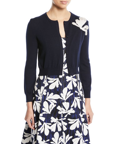Long-Sleeve Button-Front Wool Cardigan w/ Embroidered Seaweed Detail