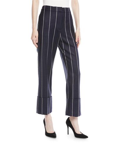 Straight-Leg Cuffed Pinstripe Wool-Blend Pants