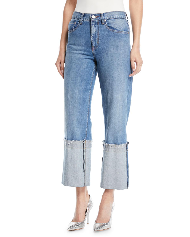 Wide-Leg Cuffed Ankle Jeans
