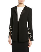 Open-Front Crepe Blazer with Pearlescent Cuffs