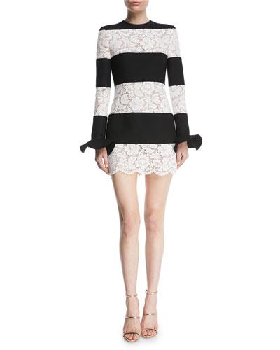 Long-Sleeve Crepe & Lace Stripe Mini Dress