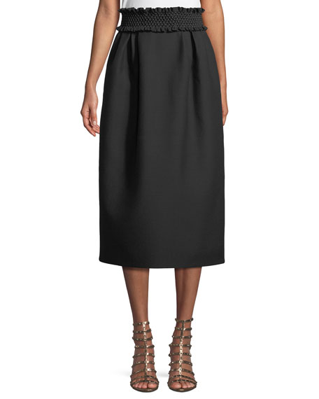 Valentino Smock-Waist A-Line Crepe Wool-Blend Ankle-Length Skirt