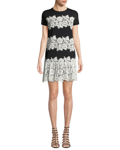 Crewneck Short-Sleeve Lace Stretch-Viscose Short Dress