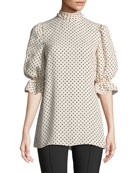 Mock-Neck Elbow-Sleeve Polka-Dot Silk Georgette Blouse