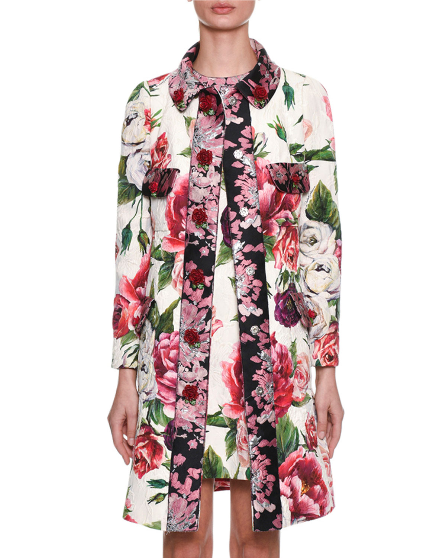 Long-Sleeve Rose Peony Jacquard Brocade Coat in Multicolour