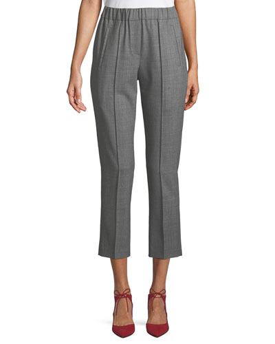 Tropical Stretch-Wool Straight-Leg Cropped Pull-On Pants