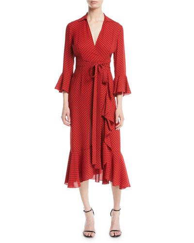 Polka-Dot Silk Georgette Wrap Dress