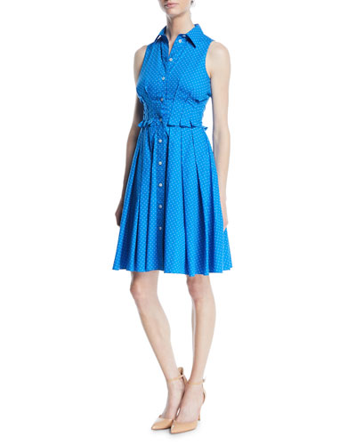 Sleeveless Button-Down Pindot Poplin Shirtdress w/ Pleating