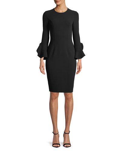 Jewel-Neck Ruffle-Sleeve Stretch-Wool Crepe Sheath Dress