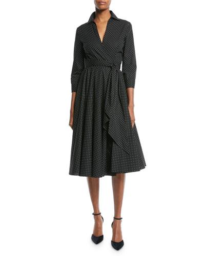 3/4-Sleeve Pindot Stretch-Poplin Wrap Dress