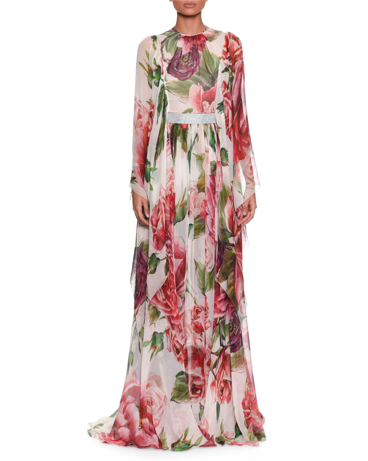Long-Sleeve Rose & Peony-Print Silk Chiffon Evening Gown W/ Belt in White from DOLCE & GABBANA