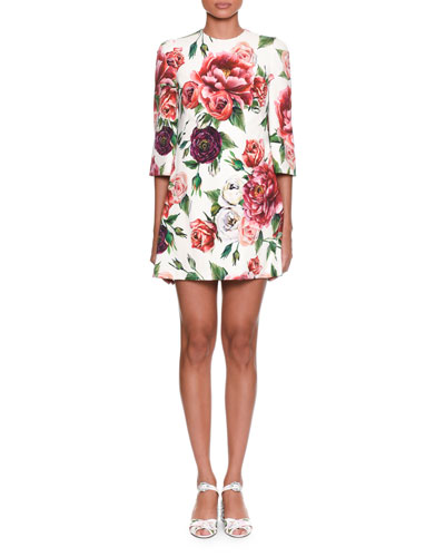 3/4-Sleeve Rose & Peony-Print Wool Crepe Knee-Length Dress