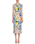 Cap-Sleeve Lemon Tile-Print Silk Charmeuse Sheath Midi Dress