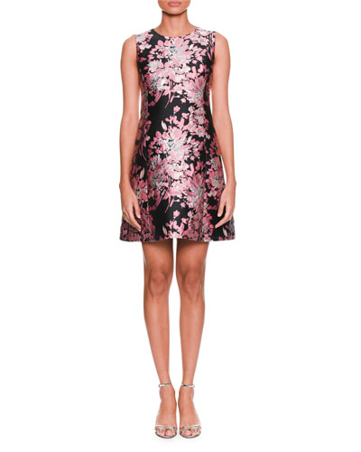 Sleeveless Floral-Jacquard A-Line Cocktail Dress