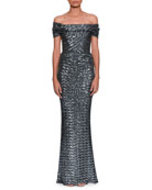 Off-the-Shoulder Embroidered Paillette Evening Gown