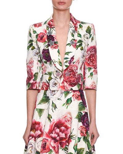 3/4-Sleeve Rose-Brocade Short Cocktail Jacket w/ Star-Embellishments