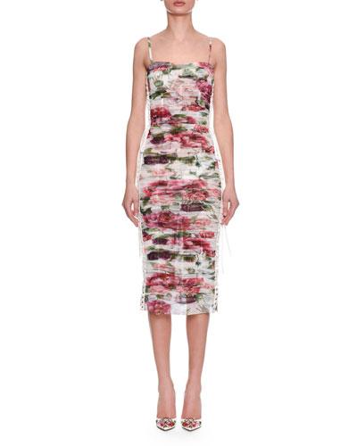 Sleeveless Thin-Strap Rose & Peony Print Ruched Chiffon Dress