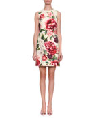 Sleeveless Rose & Peony Print Wool-Crepe Shift Dress