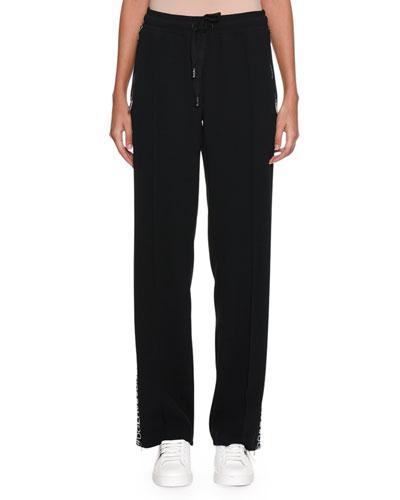 Drawstring-Waist Wide-Leg Cotton Pants w/ Logo Band