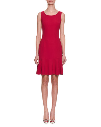 Sleeveless Scoop-Neck Fitted Daytime Dress w/ Flutter Hem