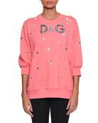 Three-Quarter Sleeve Crystal-Embellished Oversized Sweatshirt
