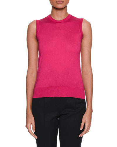 eb63715f790e69 Quick Look. Dolce   Gabbana · Crewneck Sleeveless Silk-Knit Shell Top.  Available in Pink