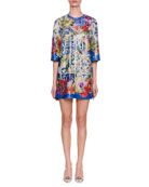 Short-Sleeve Maiolica-Tile On Tulle Oversize Tunic Dress