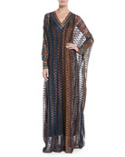 V-Neck Long-Sleeve 3-D Metallic Zigzag Long Kaftan Gown