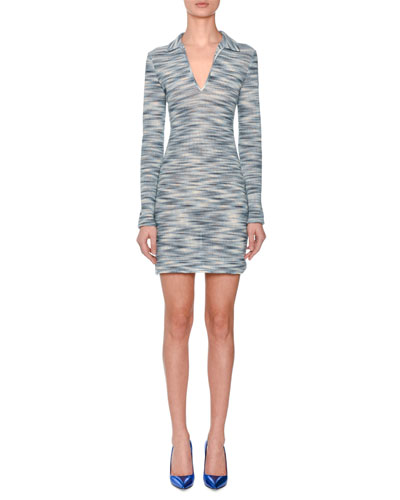 Long-Sleeve Collared Space-dye Polo Dress