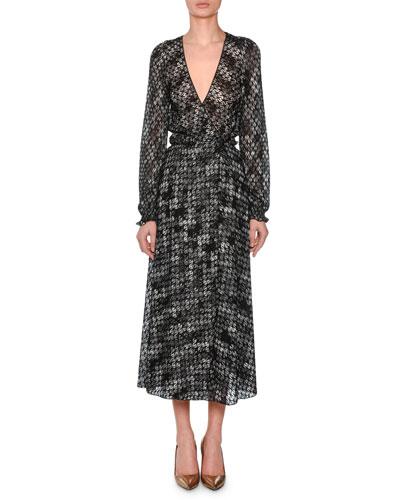 V-Neck Long-Sleeve Flame-Stitch Wrap Dress