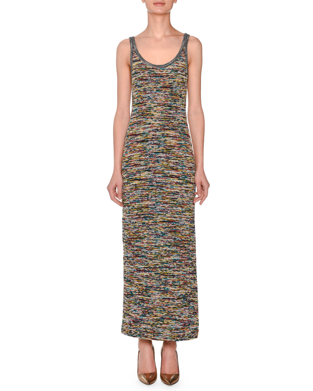 Sleeveless Scoop-Neck Space-Dye Long Dress, Green Pattern