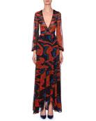 Plunging Long-Sleeve Space-Dye Long Dress