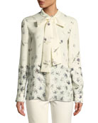 Derek Lam Mixed Floral Tie-Neck Silk Blouse and