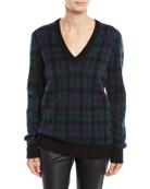Michael Kors Collection V-Neck Long-Sleeve Tartan Pullover