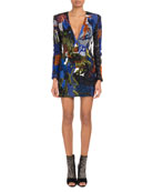 Deep-V Long-Sleeve Graffiti-Embellished Mini Cocktail Dress