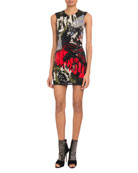 Sleeveless Graffiti-Embellished Mini Cocktail Dress