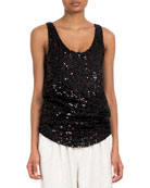 Balmain Sleeveless Scoop-Neck Paillettes Sequin Top