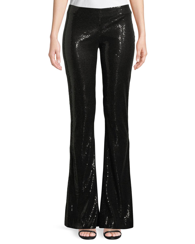 Flared-Leg Stretch-Sequin Galaxy Pants