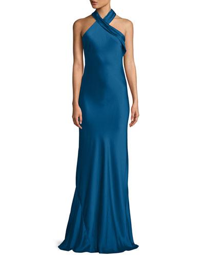 Halter-Neck Sleeveless Silk Satin Evening Gown