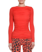 Long-Sleeve Ruched Viscose Crepe Top