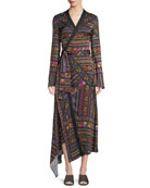 Faux-Wrap Long-Sleeve Ribbon-Print Asymmetric Dress